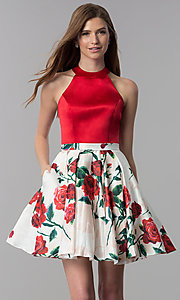 Image of satin red-floral-print-skirt short homecoming dress. Style: MF-E2551 Front Image