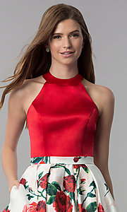 Image of satin red-floral-print-skirt short homecoming dress. Style: MF-E2551 Detail Image 1