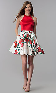 Image of satin red-floral-print-skirt short homecoming dress. Style: MF-E2551 Detail Image 3