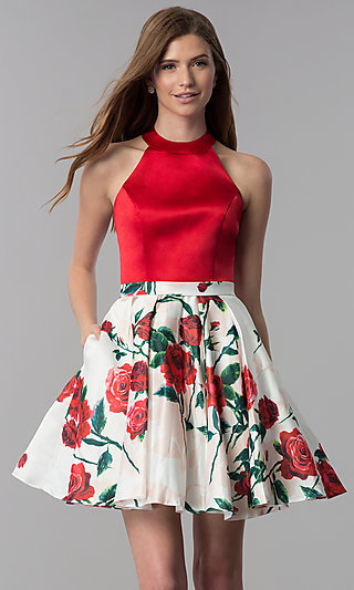Satin Red-Floral-Print-Skirt Short Homecoming Dress