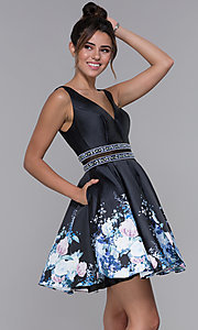 Image of sheer-waist homecoming floral-print party dress. Style: MF-E2532 Front Image