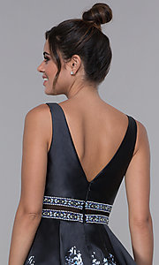 Image of sheer-waist homecoming floral-print party dress. Style: MF-E2532 Detail Image 2