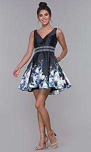 Image of sheer-waist homecoming floral-print party dress. Style: MF-E2532 Detail Image 3