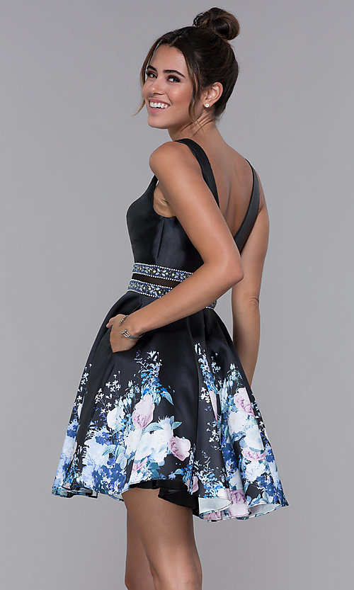 Image of sheer-waist homecoming floral-print party dress. Style: MF-E2532 Back Image