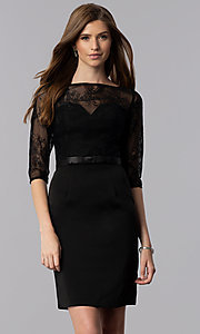 Image of 3/4-sleeve lace-bodice short homecoming party dress. Style: MF-E2088 Detail Image 3