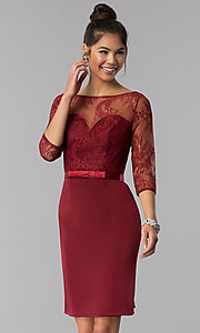 Image of 3/4-sleeve lace-bodice short homecoming party dress. Style: MF-E2088 Front Image