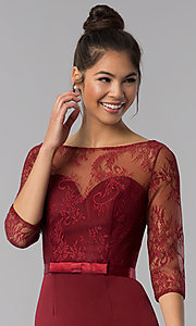 Image of 3/4-sleeve lace-bodice short homecoming party dress. Style: MF-E2088 Detail Image 1