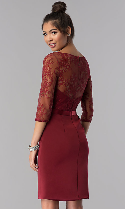 Image of 3/4-sleeve lace-bodice short homecoming party dress. Style: MF-E2088 Back Image