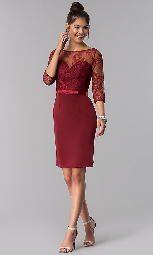 Image of 3/4-sleeve lace-bodice short homecoming party dress. Style: MF-E2088 Detail Image 2