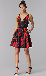 Image of short floral-print homecoming party dress with v-neck. Style: MF-E2243 Detail Image 3