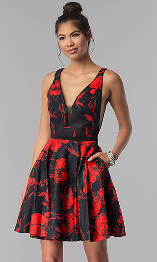 Short Floral-Print Homecoming Party Dress with V-Neck