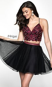 Image of iNtrigue by Blush short two-piece homecoming dress. Style: BL-IN-467 Front Image