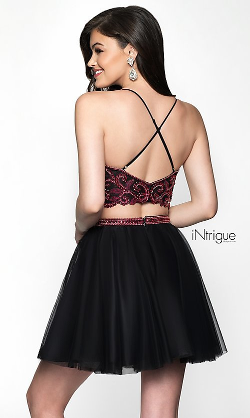 Image of iNtrigue by Blush short two-piece homecoming dress. Style: BL-IN-467 Back Image