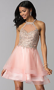 Image of high-neck short hoco party dress with tiered skirt. Style: BL-IN-472 Back Image