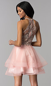 Image of high-neck short hoco party dress with tiered skirt. Style: BL-IN-472 Front Image