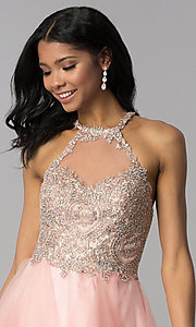 Image of high-neck short hoco party dress with tiered skirt. Style: BL-IN-472 Detail Image 1