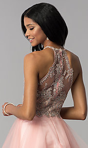 Image of high-neck short hoco party dress with tiered skirt. Style: BL-IN-472 Detail Image 2