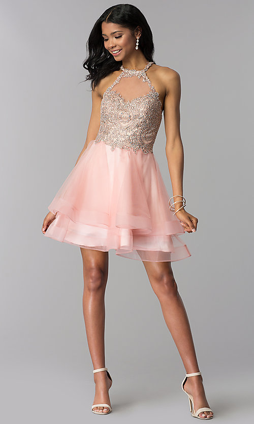 Image of high-neck short hoco party dress with tiered skirt. Style: BL-IN-472 Detail Image 3