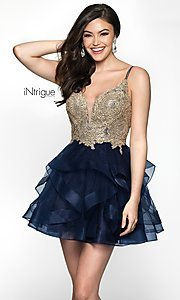 Image of short babydoll homecoming dress in navy and gold. Style: BL-IN-473 Front Image