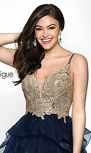 Image of short babydoll homecoming dress in navy and gold. Style: BL-IN-473 Detail Image 1