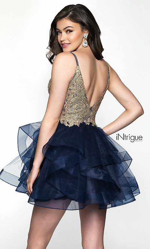 Image of short babydoll homecoming dress in navy and gold. Style: BL-IN-473 Back Image