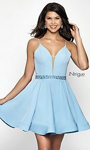 Image of sky blue v-neck open-back homecoming party dress. Style: BL-IN-478 Front Image