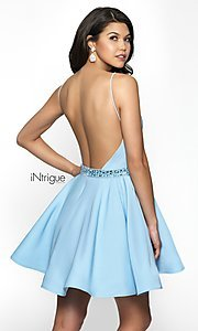 Image of sky blue v-neck open-back homecoming party dress. Style: BL-IN-478 Back Image