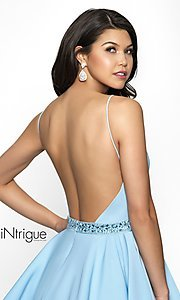 Image of sky blue v-neck open-back homecoming party dress. Style: BL-IN-478 Detail Image 2