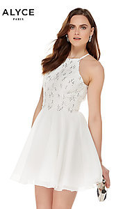 Image of Alyce high-neck short open-back homecoming dress. Style: AL-4050 Front Image
