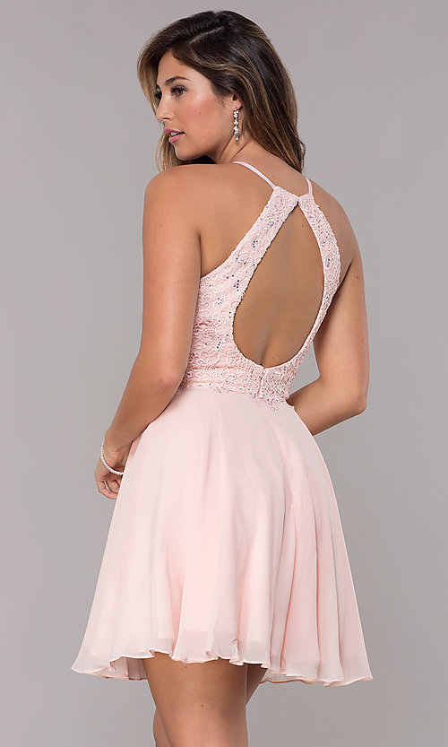 Image of Alyce high-neck short open-back homecoming dress. Style: AL-4050 Back Image