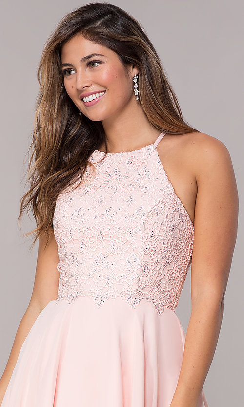 Image of Alyce high-neck short open-back homecoming dress. Style: AL-4050 Detail Image 1