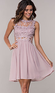 Image of embroidered-bodice mauve short homecoming dress. Style: SOI-PL-S15669 Front Image