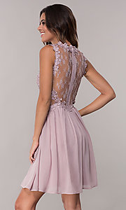 Image of embroidered-bodice mauve short homecoming dress. Style: SOI-PL-S15669 Back Image
