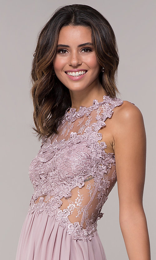 Image of embroidered-bodice mauve short homecoming dress. Style: SOI-PL-S15669 Detail Image 1
