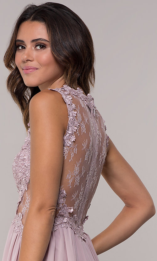 Image of embroidered-bodice mauve short homecoming dress. Style: SOI-PL-S15669 Detail Image 2
