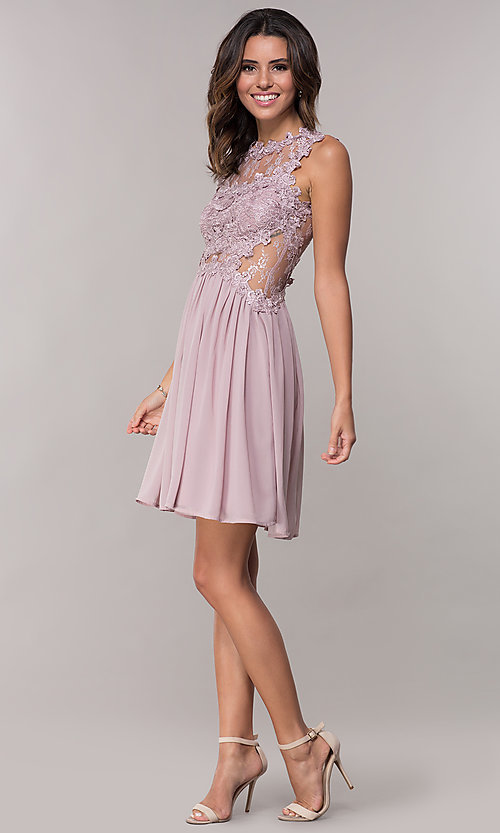 Image of embroidered-bodice mauve short homecoming dress. Style: SOI-PL-S15669 Detail Image 3