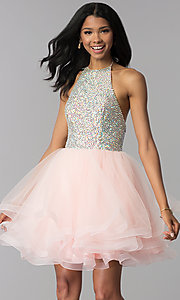 Image of short tiered-tulle embellished halter homecoming dress. Style: BL-C1124 Front Image