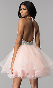 Image of short tiered-tulle embellished halter homecoming dress. Style: BL-C1124 Back Image
