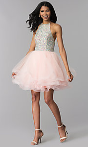 Image of short tiered-tulle embellished halter homecoming dress. Style: BL-C1124 Detail Image 3