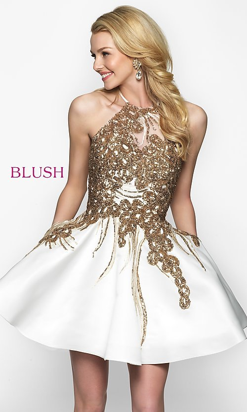 Image of short high-neck homecoming dress by Blush. Style: BL-11606 Front Image