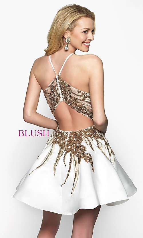 Image of short high-neck homecoming dress by Blush. Style: BL-11606 Back Image
