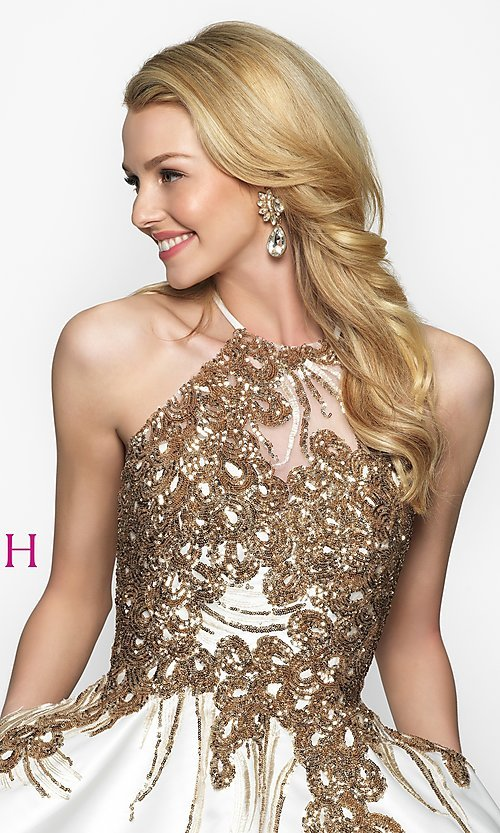 Image of short high-neck homecoming dress by Blush. Style: BL-11606 Detail Image 1