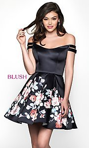Image of floral-print short a-line homecoming dress by Blush. Style: BL-11609 Front Image