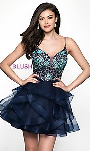 Image of beaded-bodice navy short babydoll homecoming dress. Style: BL-11613 Front Image