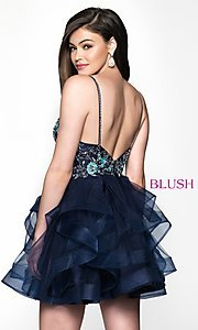 Image of beaded-bodice navy short babydoll homecoming dress. Style: BL-11613 Back Image