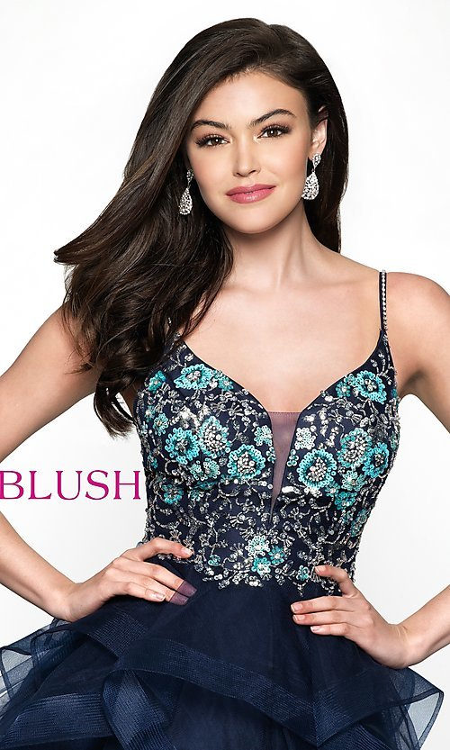 Image of beaded-bodice navy short babydoll homecoming dress. Style: BL-11613 Detail Image 1