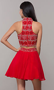 Image of two-piece short chiffon homecoming dress with t-back. Style: BL-11623 Back Image
