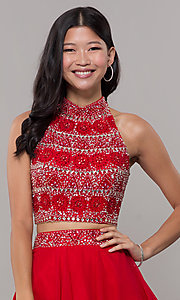 Image of two-piece short chiffon homecoming dress with t-back. Style: BL-11623 Detail Image 1