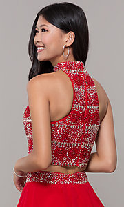 Image of two-piece short chiffon homecoming dress with t-back. Style: BL-11623 Detail Image 2