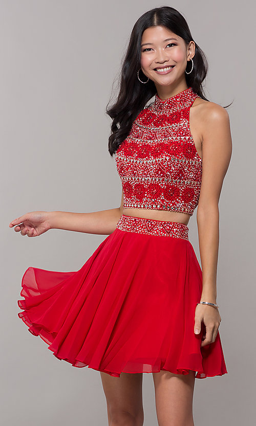 Image of two-piece short chiffon homecoming dress with t-back. Style: BL-11623 Front Image